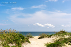 Tranquil Afternoon (mtoislander) Tags: atlanticocean beach calendar clouds dune nature northcarolina outerbanks seaoats surf water