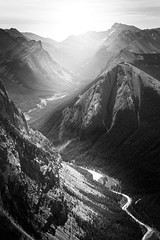 from Sulphur Skyline (Brady Baker) Tags: canada alberta travel jasper national park sulphur skyline hike view mountains rocky rockies river valley bw blackwhite black white contrast forest trees outdoor sky nature vista viewpoint summit peak