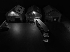 One of the Hornby model railway scenes was a dark, nighttime layout. I really liked the atmospheric lighting levels around the lorry loading area
