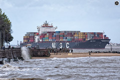 MSC ELA`A New Brighton Giant. (alundisleyimages@gmail.com) Tags: msc ela shipping containership industry maritime theblackpearlnewbrighton goods imports exports cargo beach newbrighton wirral liverpool merseyside england tide weather ports harbours people promenade water trees pirates