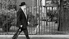 walker (susanjanegolding) Tags: jew orthodox jewish suitandtie fedora blacksuit newyork fence city ethnic man monochrome rabbi umbrella urbanfoliage tree newyorkcity beard hat