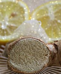 2018 Macro Mondays: Remedy (dominotic) Tags: 2018 macromondays remedy food fruit slicedlemon gingerroot lemonandgingerteabag naturalcoldandfluremedy macro yᑌᗰᗰy sydney australia