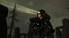 Highbeams (alexandriabrangwin) Tags: alexandriabrangwin secondlife 3d cgi computer graphics virtual world photography black ops tactical gear soldier maglite light rig glasses oakley dark night shiny glossy rubber latex catsuit corset guns pistols holster shoulder woman adventurer female ponytail trees belt armor pads elbow stonehenge walther p99