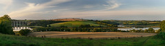 Longer shadows and shorter days (suerowlands2013) Tags: stgermansviaduct notterviaduct riverlynher rivertiddy secornwall autumn evening longshadows farmland river agriculture fields crops pasture trainline pano panoramicview reflections shadows