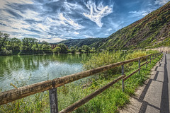 Moselle (enneafive) Tags: moselle meander sky water reflections clouds fence biketrail shadows vineyards fujifilm xt2 affinityphoto river germany bremm edigereller calmont stuben monastery ruin