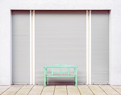 Untitled (basketnick) Tags: bench persiennes minimalistic berlin urban mintgreen architecture backwards patterns lines negativespace