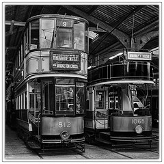 9129  Electric Transport greeting a new century !! (foxxyg2) Tags: trams tramways electricity electrictransport publictransport greentransport crich crichtramwayvillage nationaltramwaymuseum derbyshire mono monochrome bw blackwhite niksoftware dxo silverefex hdr