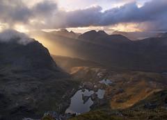 SunsetLightBeamsInCoireNaCaime_2018_09_14_1232 (Sam Waddy) Tags: light landscape mountains sunset clouds storms lightbeams scotland torridon d800 pce tiltshift