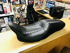 Custom Harley Davidson motorcycle seat built by Shamrock Auto Trim of North Miami Beach. (Shamrock Auto Trim) Tags: shamrockautotrim shamrock auto trim upholstery harley davidson northmiamibeach custom leather vinyl classic convertible top mercedes carpet interiors