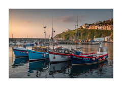 4 In A Row (Dave Fieldhouse Photography) Tags: mevagissey sunrise cornwalllife cornwall cornish northcornishcoast kernow seaside seascape fishingvillage fishing harbour boats fishingboat cloud houses holidays calm reflections morning summer southwestcoastpath england uk fujixt2 fujifilm fuji wwwdavefieldhousephotographycom water ocean sea cliff fish