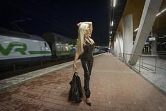 Dixi Railway Station (DZ-fotografia - 11 Million views, Thx) Tags: train railway station night sexy lady woman pvc black uniform long blonde hair heels