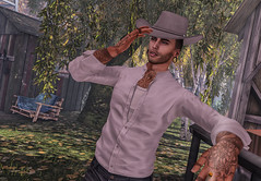 Howdy... (jc.underwood) Tags: cowboy hat deadwool tattoo buildings chair grass tree leafs tractor farm secondlife slphotography selfie 3dlife 3dpeople portrait howdy sigarett smoke slmen