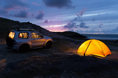 Ballyconneely peninsula, Ireland (Ronkoteus) Tags: sky night sunset tent camp camping car offroad ocean sea clouds cloud purple