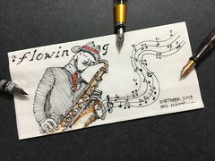 Inktober 2018 - Day 10.  Flowing (schunky_monkey) Tags: fountainpen penandink ink pen illustration art drawing draw sketching napkinsketch sketch napkin musical music instrument saxophone sax jazz flowing inktober2018 inktober