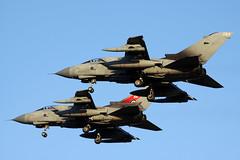 """PRIMUS"" flight of two Panavia Tornado GR4s ZA554/046 & ZD716/084 - RAF Marham, October 2018 (StrikeEagle492) Tags: panaviatornado tornadogr4 gr4 tonka raf royalairforce marham rafmarham norfolk kingslynn canoneos50d canonef70300mmlis za554 zd716"