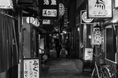 alley (Hideki Iba) Tags: osaka japan bw blackandwhite 白黒 alley street nikon d850 2470 bicycle bike lantern 看板 提灯