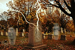 "~Come...let me take you on a ""SPOOK-tacular"" journey..... (nushuz) Tags: lighteningbolts cemetery spooksghosts smileonsaturday old odcemeteryinjerichovt spooky fallfoliage halloween creepy eerieglow spooktacular happysos macrabe"