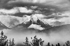And the mountains are there (Sean X. Liu) Tags: blackandwhite blackwhite monochrome mountains rockymountains canada alberta jasper canadianrockies clouds fog