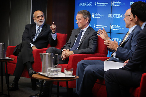 Former Federal Reserve Chairman Ben Bernanke and former Treasury Secretaries Tim Geithner and Hank Paulson look back and ahead