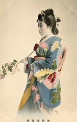 Shinbashi Genroku Odori – Miko 1905 (Blue Ruin 1) Tags: geigi geiko geisha genrokustyle shinbashi shimbashi tokyo japanese japan meijiperiod 1905 postcard miko