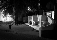 Lousã -- 山崎ハコ - 流れ酔い唄 (song link below) (numéro six) Tags: rue rua calle street night noite nuit vila ville city whiteandblack pretoebranco noiretblanc urbano urban urbain bancs bancos seats tree arvore arbre shadow ombre sombra