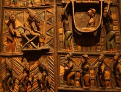 about 1910-1914 door panels from the palace at Ikere (mark.wohlers) Tags: 1910 doors palace ikere ogoga king yoruba nigeria britishmuseum london unitedkingdom carving oloweofise visit heirs officials wives slaves visitor palanquin porters prisoners soldiers