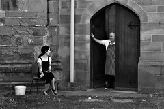 I'm Sure The Bishop Wont mind (WorcesterBarry) Tags: blackwhite bnw blackandwhite buildings places people photographers portrait paths outdoors old monochrome lovebw england streetphotography mono nature architecture door smoking