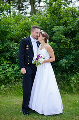 Standing (Martin Hove) Tags: gown wedding grass people portrait green couple bryllup full shoot body husband wife military follow comment denmark