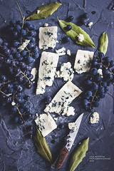 Blue Cheese and Blue Grapes (j.nesterova) Tags: food fruits cheese juicy soft mold grapes blue pulp leaves knife