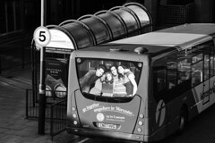 Always Liked The Backseat (WorcesterBarry) Tags: blackwhite bnw blackandwhite street streetphotography streetphoto shadows places people photographers outdoors lovebw light monochrome humour happiness streetartist signs bus poster advertisement england