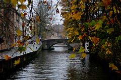 Autumn (Valantis Antoniades) Tags: bruges brugge belgium canal autumn yellow leaves season trees bridge