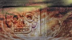 Spook-tacular muralla (Renate Bomm) Tags: architektur halloween mauer phantasialand renatebomm sigma16mmf14dcdn sonyilce6000 totenkopf smileonsaturday spooktacular espeluznante gruselig orange naranjo