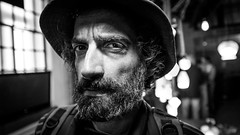 """#247 """"Franco, what the hell are you doing on this planet?"""" (Hendrik Lohmann) Tags: streetphotography streetportrait project portraits people portrait urban blackandwhite bwstreet bnw blackandwhiteportrait beards nikondf nightshot nightphotography wideangle whatthehell"""