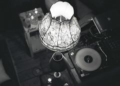 Circles (lharris35mm) Tags: lampshade blackandwhite blackwhite 35mm film pushed analogue decks circles lighting slr nikon nikonfe ilforddelta400