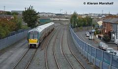 22019 departs North Wall, 25/9/18 (hurricanemk1c) Tags: railways railway train trains irish rail irishrail iarnród éireann iarnródéireann 2018 22000 rotem icr rok 4pce 22019 1115northwalldublinheuston dublin northwall