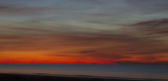 The Red Line (brucetopher) Tags: sunset red water sea ocean bay coast seacoast beach sun set setting afterglow twilight night sky cloud clouds painterly painted evening fall autumn fire fiery fireinthesky skies
