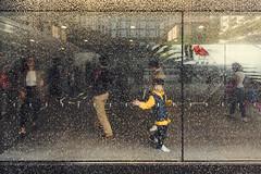 Aquarion (Fox'sPhoto) Tags: kid play water drop light shadows people walking stairs urban apple store city street streetphoto streetphotography