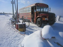 The Adventure Bus fuelling up at Eagle Plain