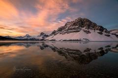 Bow Lake Sunrise (Margarita Genkova) Tags: reflection colours sunrise nature landscape canada banffnationalpark bowlake