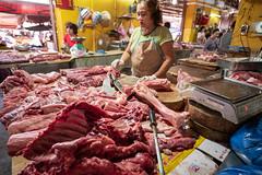 butcher, Hoi An Market (vhines200) Tags: vietnam hoian 2018 leica market woman smallbusiness meat beef butcher