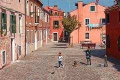 Venice /  Giudecca / Calle Ferrando / Two children with the dog (Pantchoa) Tags: venise vénétie guidecca rue place personnes enfants chien maisons urbanisme fontaine eau arbres photoderue photo europe ville italie tourisme visite vacances banc