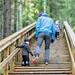 Family walking in Tahko stairs