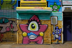 Street Art (soboy5) Tags: art streetphotography streetart door doors sidewalk building brooklyn bushwick bushwickcollective brick bricks texture graffiti mural nyc newyorkcity newyork fuji fujifilm xt1 sooc sign signs gate gates metal pink orange green blue purple