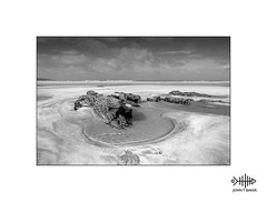 Low tide (silver/halide) Tags: gwithian johnbaker beach lowtide sand rockpool atlantic atlanticocean empty mono blackandwhite bw monochrome deserted