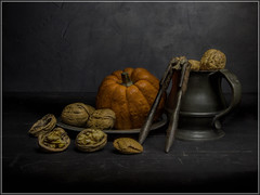 Still Life with Nuts (Ed Phillips 01) Tags: still life light painting sculpting walnut almond pumpkin gourd vintage painterly