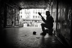 guitarman (Daz Smith) Tags: dazsmith fujifilmxt3 xt3 fuji bath city streetphotography people candid portrait citylife thecity urban streets uk monochrome blancoynegro blackandwhite mono silhouette graffiti posters bearpit bristol busker musician guitar man
