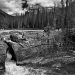 Carving a Path Through the Rocks of Natural Bridge (Black & White, Yoho National Park) thumbnail