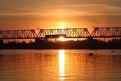 (decemberGirl.) Tags: sunset sunlight river water railwaybridge train sky novosibirsk helios44m evening goldenhour