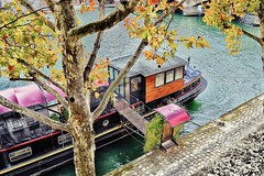 Autumn in Paris (stephaneblaisphoto) Tags: architecture branch bridge building exterior built structure canal day high angle view mode transportation nature nautical vessel outdoors plant real people travel tree water