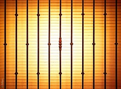Abstract (114) - Caged Sun (Kal BT) Tags: window ventana blind persiana grid grille reja iron hierro light luz sun sol sunset atardecer behind detrás gold oro golden dorado yellow amarillo orange naranja minimal minimalism minimalismo minimalist minimalista